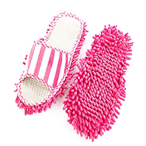 TrifyCore Chenille Slipper Haus Bohner Abstauben Füße reinigen Socken Schuhe Mop Hausschuhe Multi-Oberflächenreiniger Staubreinigung 1pair (pink) Schuhe, praktische Haushaltshelfer Open Toe Holz