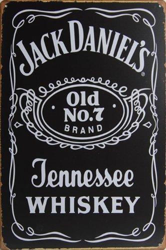 Retro Tin Posters Jack Daniel 's Old No. 7Tennessee Whiskey, Whisky Metall blechschild, Vintage Style Wandbild Ornament Kaffee & Bar Decor, 20x 30cm.