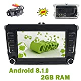 FOIIOE Oreo Android 8.0 Autoradio Quad Core 2G 7 Zoll 2 DIN Navi Video Player unterstützt GPS Navigation Bluetooth WLAN SWC DAB+ OBD2 Mirror Link für VW Touareg/VW Transporter/VW T5 Multivan