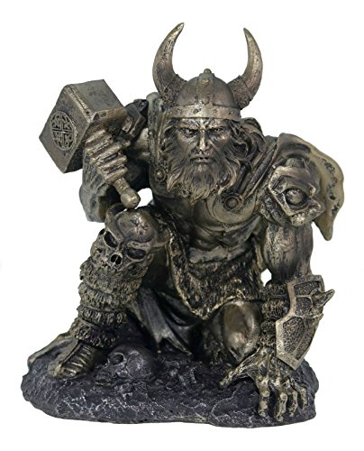 Vogler Thor Escultura de Dios Nórdico con Martillo knieend Plata Colores 19cm Odin Freya Figura