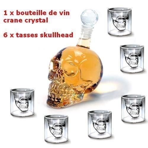 MVpower 350ML Bouteille de Vin Crane de Crystal Carafa a Decanter Whisky Vodka+ 6 Verre Tete de Mort Headskull Glass