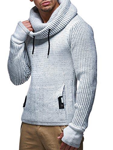 LEIF NELSON Herren Pullover Hoodie Strickpullover Longsleeve Sweater Sweatshirt Zipper LN5060; Gr_¤e M, Grau