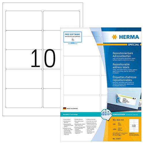 Herma 10307 Adressetiketten ablösbar, wieder haftend (96 x 50,8 mm) weiß, 1.000 Adressaufkleber, 100 Blatt DIN A4 Papier matt, bedruckbar, selbstklebend X 96