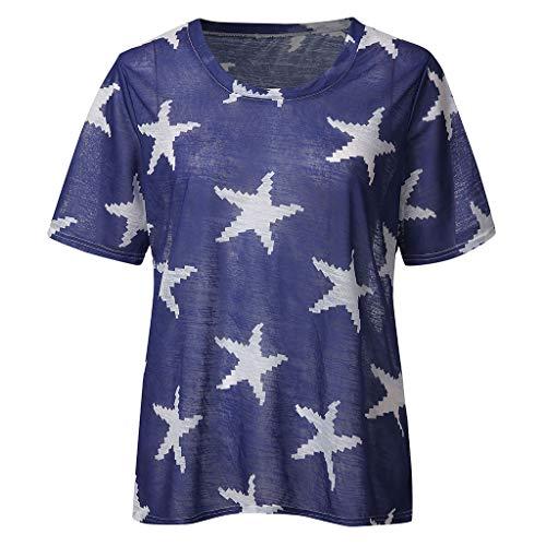 Bellelove Damen T-Shirt Rundkragen Kurzarm Bluse Star Print Shirt Sommer Bequemes Casual Frauen Top (Halloween-kostüme 70 Off)