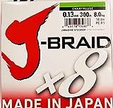 Daiwa J-Braid 8 Braid 0.13mm, 8,0kg/18lbs, 300m chartreuse, rund geflochtene Angelschnur
