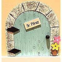 Puerta mágica Ratoncito Pérez que se abre, MADERA AZUL, incluye ratón guardadientes y escalera.