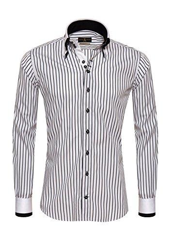 Giorgio Capone Premium Shirt, Black and White Striped,Non-Iron, 100% Cotton, Slim & Regular Fit