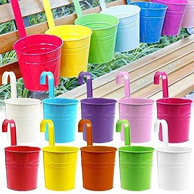 Acelectronic® 10 Stück Hängetöpfe Blumentopf Ø 10cm in 10 Verschiedenen Farben Übertopf , Metall von Acelectronic® auf Du und dein Garten