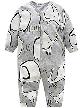 Omiky® Neugeborenes Kleinkind Säugling Baby Langarm Cartoon Elefant Overall Spielanzug Kleidung