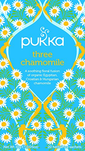 Pukka Three Chamomile Herbal Tea Bags - Organic & Fair Chamomile - Naturally Caffeine Free (Pack of 4)