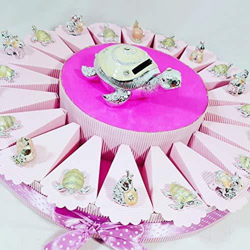 Bomboniere battesimo comunione cresima tartaruga, coccinella. - torta bomboniera 12 fette + 20 oggetti + 1 tartaruga salvadanaio + confetti apr