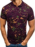 BOLF Herren Polo T-Shirt Poloshirt mit Muster Military Army Camo Casual Style ZAZZONI 1106 Weinrot S [1A1]