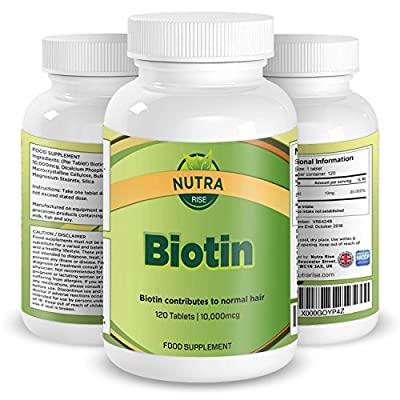 Biotin Hair Growth Supplement, 10000mcg, Double Strength B7 Vitamins, Thicker Hair for Women and Men, Supports the Growth & Maintenance of Healthy Nails, Skin and Hair Loss - 120 Tablets by Nutra Rise