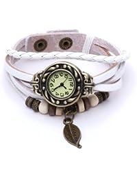 Reloj de Pusra Cuarzo Brazalete Cuero Blanco Trenzado Retro para Mujer Moda
