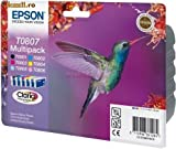 Original Tinte Epson T0807 C13T08074010 - 6x Premium Drucker-Patrone - Schwarz, Cyan, Magenta, Gelb, Light Cyan, Light Magenta - 220 Seiten - 7,4 ml