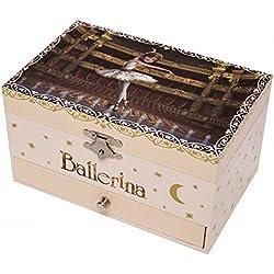 """Caja de música / joyero musical de madera de 18 notas con la pequeña bailarina """"Félicie"""" de la una película animada """"Ballerina"""" - El lago de los cisnes (P. I. Tchaïkovski)"""