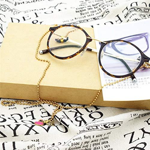 PKWEHKG Trendy Novel Simple Smile Metall Sonnenbrille Kette für Frauen Persönlichkeit Brillen Lanyard Holder Straps,Gold