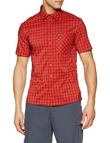 Odlo Herren Shirt s/s Nikko Hemd, red Dahlia - Fiery red - Check, XXL