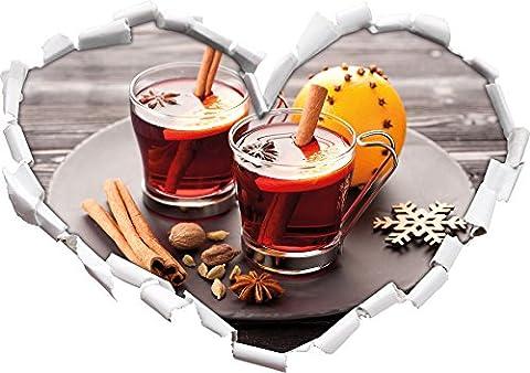 Aromatique vin chaud avec forme de coeur de cannelle dans le regard 3D, mur ou une porte autocollant Format: 62x43.5cm, Stickers muraux, Stickers muraux, Décoration murale