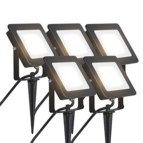 Qazqa Modern Set of 5 LED Floodlights Radius 1 20 W LED BLACK with Stake Rectangular Aluminium/Glass/includes LED (No Stand) Max. 5 x 20 Watt