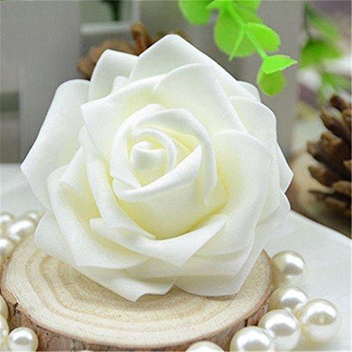Gemini _ Mall® 50Schaumstoff Rose Köpfe Champagner Künstliche Blumen Hochzeit Braut Bouquet Party Decor DIY, Schaumstoff, elfenbeinfarben, Einheitsgröße