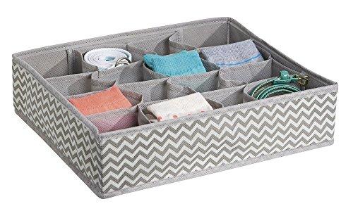 Mdesign organizer armadio con 16 scomparti – ideali come organizer cassetti – portabiancheria in tessuto traspirante – grigio talpa/beige