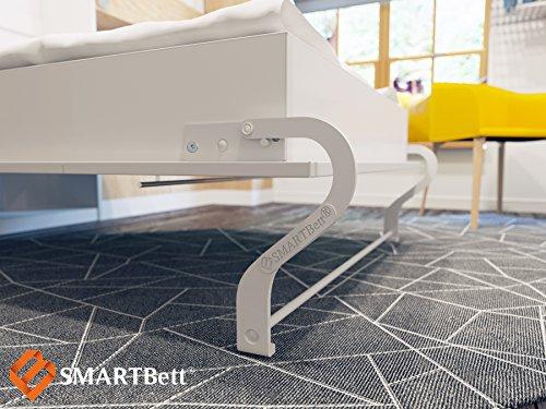 Schrankbett 120×200 cm Vertikal Weiß Schrankklappbett & Wandbett, ideal als Gästebett – Wandbett, Schrank mit integriertem Klappbett, SMARTBett - 4
