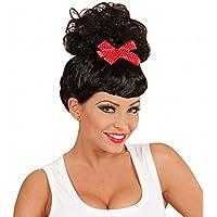 Widmann 01848 - Perücke Rockabilly Pin Up Girl schwarz mit roter Schleife