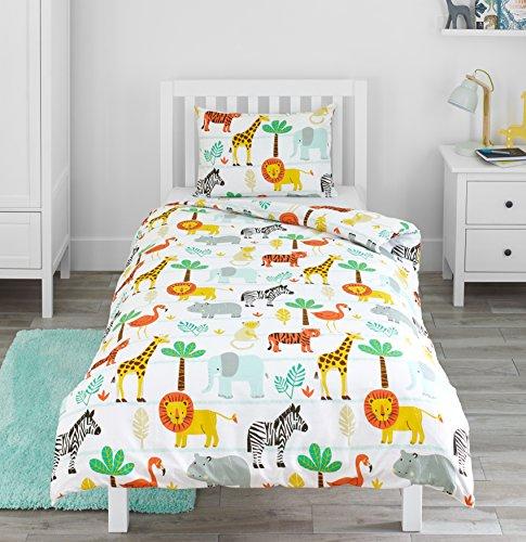Bloomsbury Mill - Safari Abenteuer - Dschungel Tiere - Kinderbettwäsche Set - Junior / Kleinkind / Kinderbett Bettwäsche Set und Kopfkissenbezug