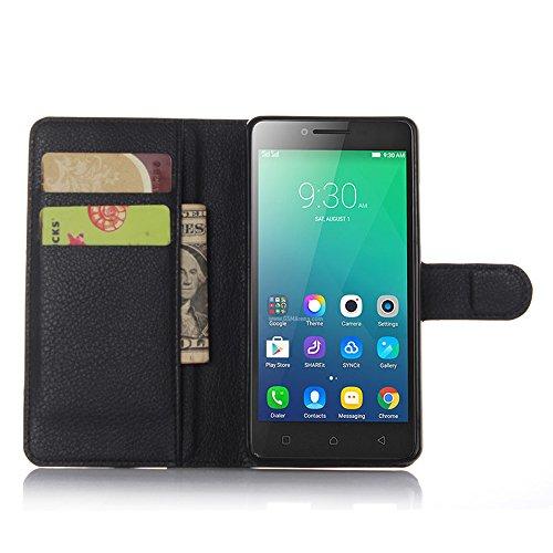 Nadakin Lenovo A6010/A6000 Plus Hülle , Premium Leder Schutzhülle Flip Mappen Kasten Abdeckung,Handyhülle aus Taschenhülle mit Kreditkartenhaltern, Standfunktion, Geldbeutel, Magnetverschluss für Lenovo A6010/A6000 Plus (Schwarz)