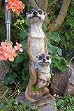 Erdmännchen Mama mit Kind 32 cm Tierfigur Gartenfigur Erdmännchen