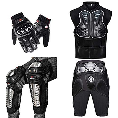 Gratydallks Motorradjacke Brust Protect Rückenstütze Körperschutz Motocross Off-Road Motorrad Hip Pad Alloy Steel Handschuhe Kniepolster 6pcs set L