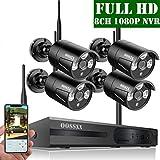 【2019 Nuevo】Sistema de Cámara de Seguridad, 1080P NVR Grabador Kit de Vigilancia CCTV con 4 1080P IP Cámaras de Vigilancia WiFi Exterior, Monitoreo Remoto de Seguridad Inalámbrico Sin Disco Duro