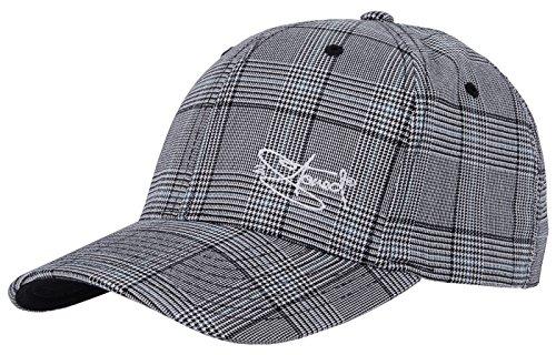 2Stoned Flexfit Cap Glen Check mit Stick Classic Logo Schwarz/Weiss Kindergröße Youth (53cm - 55cm), Basecap für Kinder
