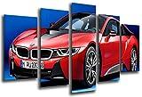 Wandbild - Bild Sportwagen, BMW i8, rot, 165x 62cm, Holzdruck - XXL Format - Kunstdruck, 26556