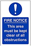 "VSafety 18053AG-R Mandatory Sign, ""This Area Must Be Kept Clear Of All Obstructions"", Rigid Plastic, Portrait, 100 mm x 150 mm, Blue"