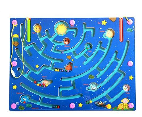 HappyToy magnetische labyrinth puzzle interaktive labyrinth magnet perlen labyrinth auf brettspiel eduactional handwerklichen bildungs - puzzle - spielzeug (9 planeten) (Puzzle Magnet-labyrinth)