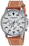 Akribos XXIV Herren-Armbanduhr Men'S Schweizer Quarz Leather Strap Watch Analog Quarz AK773SSBR