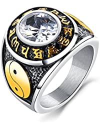 316L Edelstahl Ring Yin Yang Taiji Symbol schwarz gold IP yinyang Zeichen