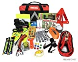 Blikzone Clasic 81-Pc Auto Assistenza Stradale Emergenza Essentials Kit per Auto, Camion e RV, con Pneumatico Riparazione compressore d'Aria Portatile di Kit, cavetti,