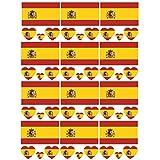 SpringPear 12x Temporär Tattoo von Flagge Spaniens für Internationale Wettbewerbe Olympischen Spiele Weltmeisterschaft Wasserfeste Fahnen Tätowierung Flaggenaufkleber WM Fan Set (12 Pcs)