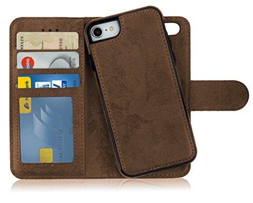 MyGadget Flip Case mit Back Cover [2 in 1] für Apple iPhone 7/8 - Magnetische Hülle in PU Leder Klapphülle - Kartenfach Schutzhülle Wallet - Braun Apple Iphone Magnet Flip Case
