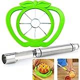 BESYZY 2pcs Apple Cutter Conjunto de Cortadora de Manzana y Despepitadora Slicer Cutter Fruit Remover Cuchillas filosas de Acero Inoxidable