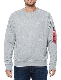 "ALPHA INDUSTRIES X Fit Sweatshirt | Grey Marl Small 36"" Chest"