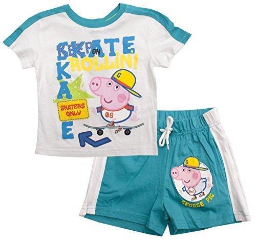 PIG Keep Skater Rollin T-Shirt & Shorts Set Größen von 3 bis 8 Jahre - Türkis, 3 years (George Pig Outfit)