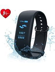 Camtoa ID101HR Fitness-Armband, mit Touchscreen, OLED Fitness-Tracker, Activity-Tracker, Schutzart IP67,Smart-Armband mit Herzfrequenzmessung, Schrittzähler, Schlafüberwachung, Musiksteuerung, Digitalkamera, Benachrichtigungen über Anrufe, SMS, WhatsApp-Nachrichten, Facebook, Ladefunktion über USB