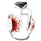 SamMoSon Unisex 3D Blood I'm fine Druck Hoodies Kapuzenpullover Langarm Bunte Pullover Kapuzenpulli Sweatshirt Kapuzenjacke Halloween Frauen-Männer-Couple-Punk M-3XL