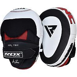 RDX Cuero Vacuno Manoplas Boxeo Paos Kick Boxing Muay Thai Artes Marciales Patada Pad Entrenamiento