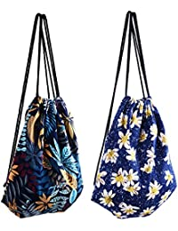 Kloud City Pack Of 2 Unisex Canvas Knit Color Printed Drawstring Backpack For Outdoor By Beautyflier