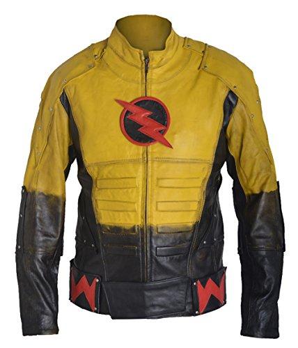 fwl-reverse-flash-waxed-barry-allen-sheep-leather-jacket-m-yellow-black